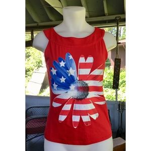 Justice Girl's Patriotic Glitter American Flag Top